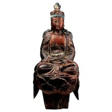 High Quality large Chinese Wooden figure of Guanyin, 18th. cent!