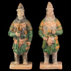 A nearly superb pair of Ming Dynasty pottery figures - armed Soldiers!
