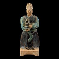 A rare & large Ming Dynasty Pottery figure of an Attendant - 32 cm!