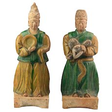 A fantastic pair of Ming Dynasty pottery figures - two Attendants!!