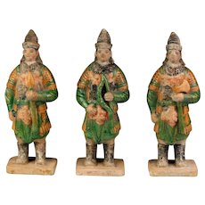 A superb set of Three Chinese Ming Dynasty pottery figures - Soldiers!