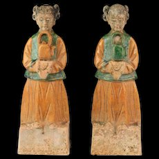 A rare pair of Chinese Ming Dynasty pottery - female attendants!