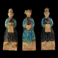 A rare set of Three Chinese Ming Dynasty pottery attendants!