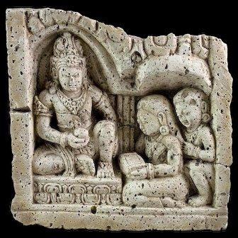 Rare Buddhist / Hindu Limestone Relief, c. Indonesian, Java, 8th.-10th. cent