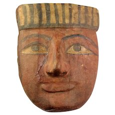 Nice ancient Egyptian wooden mummy mask, late period, 716-30 BC