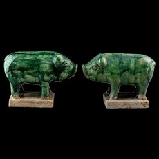 Rare Pair of Chinese Tomb Pottery figures of Pigs, Ming Dynasty!