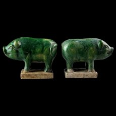 Pair of attractive Chinese Tomb Pottery figures of Pigs, Ming Dynasty!