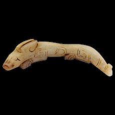 Ancient Chinese Han white Jade flycatcher pendant - ex. Novak coll.