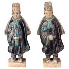 A nice pair of Ming Dynasty Pottery Attendants w. Capes, 1368-1644
