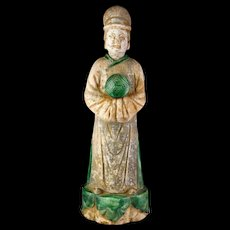 Scarce Chinese Pottery figure of a Female Attendant, 1368-1644 AD!