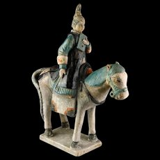 Beautiful Chinese Ming Dynasty pottery female Rider / Attendant!!