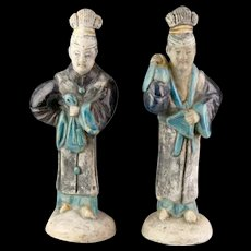 Matching pair of Chinese Ming Dynasty pottery Court Ladies, 1368-1644