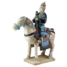 Nearly superb Chinese Ming Dynasty Pottery Military Rider, 1368-1644!