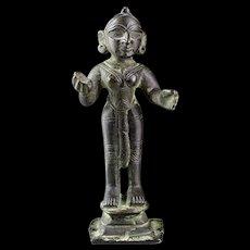Rare India, Jain bronze Godess Yakshini, ca. 15th.-16th. cent!