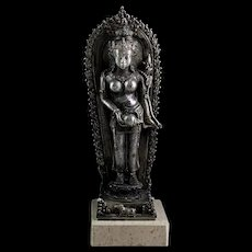 Museum Quality Java Majapahit silver female deity, 13th.-15th. cent!