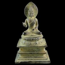 Important bronze figure of Buddha on a throne, ca. 9th. century AD!