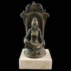 Interesting Seated Hindu bronze godess, Java, ca. 12th.-14th cent.