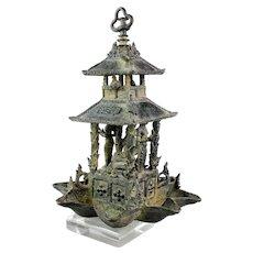 Important massive Indonesian Temple bronze oil lamp of Buddha, c 13th.-15th. cent. AD