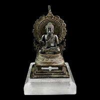 Rare Silver Budhha on a bronze Throne, ca. 10th. century AD
