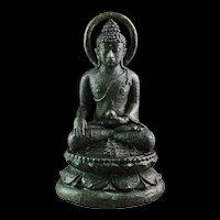 Indonesia Java Borobudur bronze figure of Buddha, 8th.-9th. cent AD