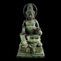 Rare Seated bronze figure of Kuvera or Kubera, Javanese, 11th. cent
