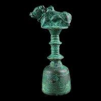 Rare Indonesian Majapahit bronze Temple Bell w. Bull, ca. 13. cent.