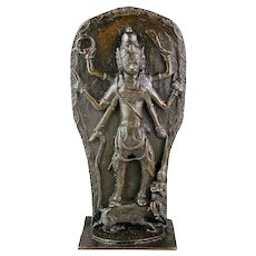 Rare massive Hindu bronze relief of Kali or Khali, 12th.-14th. cent.