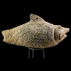 Rare Indonesian, Majapahit pottery money bank in a fish form, ca. 14th. cent
