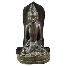 Rare Javanese bronze figure of Buddha enthroned with Stupa