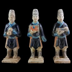 Set of three choice Chinese Ming Dynasty tomb pottery attendants!