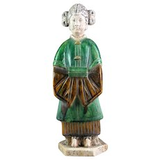 A superb Ming Dynasty pottery female attendant!!