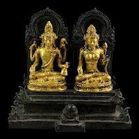 Important Gilt Hindu bronze figure, Shiva & Parwati, 12th.-14th. cent