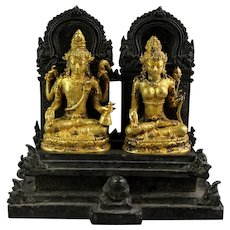Important Gilt Hindu bronze figure, Shiva & Parwati, 12th.-14th. cent