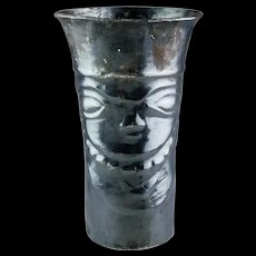 Important large Inca silver Kero w. face, ca. 1200 to 1500 BC