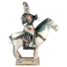 Colossal Chinese Tomb pottery figure of mounted Officer, Ming Dynasty