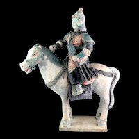 Colossal Chinese Ming Tomb pottery horse figure of mounted Officer, 55 cm.!