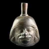 Large Late Moche - Chimú Blackware head Vessel, 7th.-9th. cent.