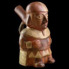 High Quality Moche, Mochica pottery figural Stirrup vessel, 400 AD!