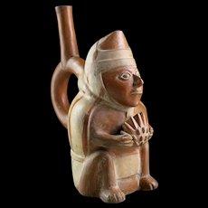 Choice Moche, Mochica pottery Stirrup figural vessel, 400 AD!