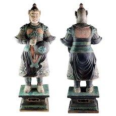 Museum Quality Ming Dynasty Tomb pottery warrior w shield, 82 cm!