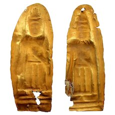 Pair of Ancient Laotian Standing gold Buddha statue votive plaques