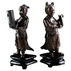 Pair of beautiful Chinese bronze attendants, Ming-Qing Dynasty, c. 17th. century