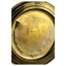 Rare Scottish Baroque Baptismal Brass Dishl, 18th. century