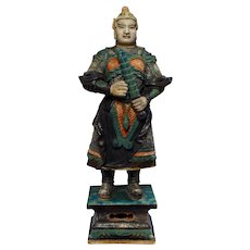 Museum Quality Ming Dynasty Tomb pottery warrior w Club, 84 cm!