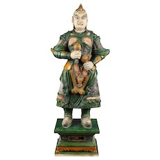 Museum Quality Ming Dynasty Tomb pottery warrior w Grenades, 83-85 cm