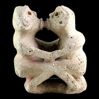 Extremely rare Pre-Columbian Taino Erotic white stone sculpture!