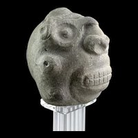 A superb pre-columbian stone head of the Taino Culture, 1000-1300 AD