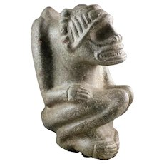 Museum Quality stone figure of squating Zemi, Taino Culture!
