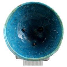 Superb Islamic pottery jar Torquise glaze with iridescence!