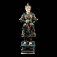 Museum Quality Ming Dynasty Tomb pottery warrior w Mace, 82 cm